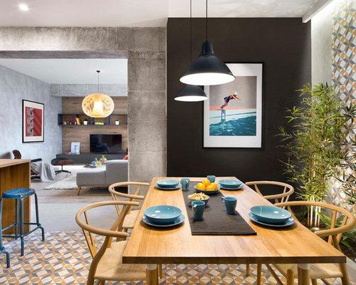 Sala da pranzo con pavimento con piastrelle in ceramica e pareti