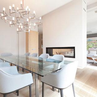 Idee per una sala da pranzo aperta verso il soggiorno minimalista di medie dimensioni con pareti bianche, parquet chiaro, cornice del camino in intonaco e camino bifacciale