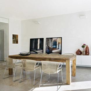Esempio di una sala da pranzo aperta verso il soggiorno design di medie dimensioni con pareti bianche, pavimento in pietra calcarea e nessun camino