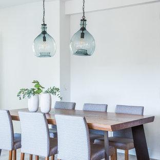 Foto de comedor clásico renovado con paredes blancas, suelo de madera en tonos medios y suelo marrón