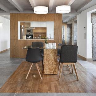 Modelo de comedor contemporáneo, de tamaño medio, abierto, sin chimenea, con paredes blancas, suelo de baldosas de cerámica y suelo negro