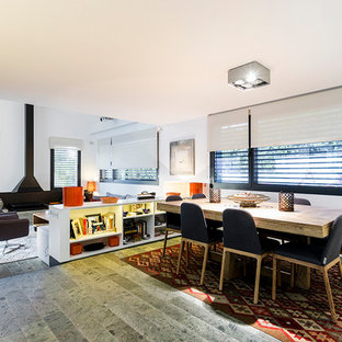 Inspiration for a mid-sized contemporary great room remodel in Madrid with white walls and a hanging fireplace