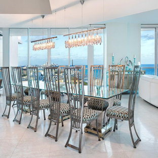 Great Room   Contemporary White Floor Great Room Idea In Miami With White  Walls