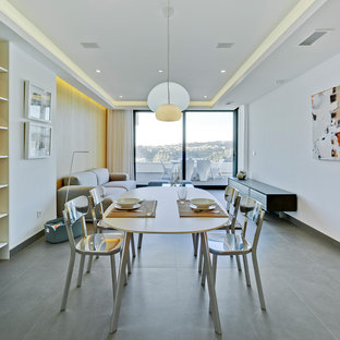 Foto de comedor contemporáneo, de tamaño medio, abierto, sin chimenea, con paredes blancas, suelo de baldosas de cerámica y suelo gris