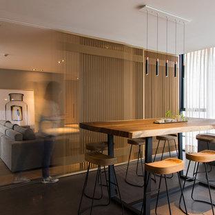 Diseño de comedor actual con suelo gris