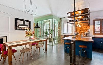 Casas Houzz: Estilo ecléctico en un piso con terraza-invernadero