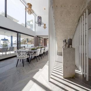 Diseño de comedor contemporáneo, extra grande, abierto, sin chimenea, con paredes blancas