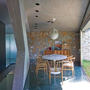 Ejemplo de comedor actual, de tamaño medio, abierto, con paredes grises y suelo gris