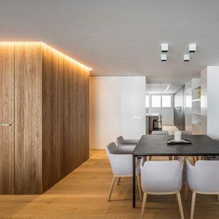 Ejemplo de comedor actual, grande, abierto, sin chimenea, con paredes blancas y suelo de madera clara