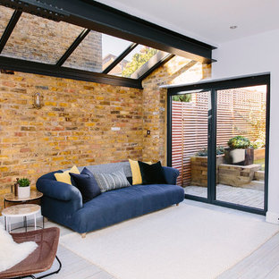 Design ideas for a large industrial conservatory in London with vinyl flooring and white floors.