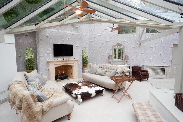 Farmhouse Sunroom by WN Interiors.