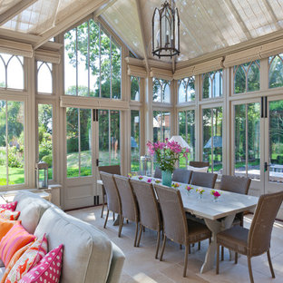 Design ideas for a large victorian conservatory in Other with a skylight and grey floors.