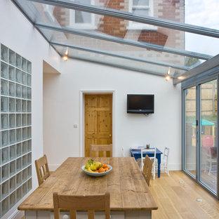 Modelo de galería clásica con suelo de madera en tonos medios y techo de vidrio