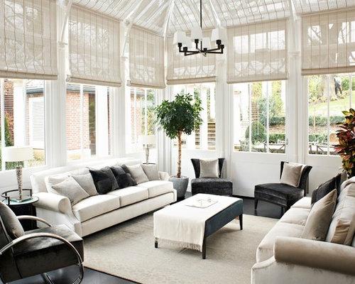 Inspiration For A Contemporary Gray Floor Sunroom Remodel In London With Glass Ceiling