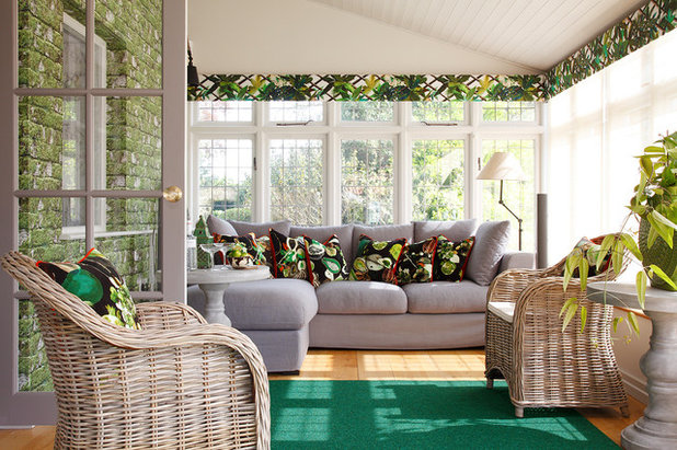 Transitional Sunroom by Stephen Ryan Design and Decoration