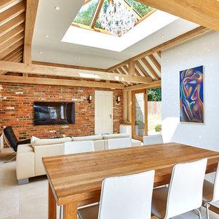Oak garden room link with roof lantern