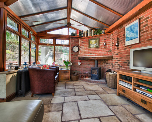 Best Mid Sized Sunroom With A Wood Stove Design Ideas