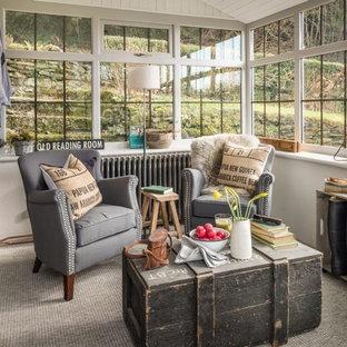 Réalisation d'une véranda champêtre de taille moyenne avec moquette, un plafond standard et un sol gris.