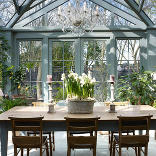 Design ideas for a traditional conservatory in London with a glass ceiling.