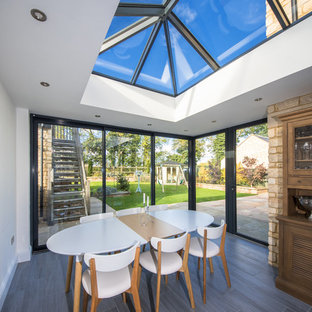 Design ideas for a medium sized contemporary conservatory in Other with laminate floors, a skylight and grey floors.