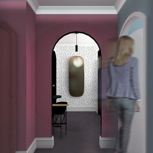 Inspiration for a small midcentury hallway in Amsterdam with pink walls, concrete floors and grey floor.