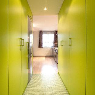 パリの中サイズのコンテンポラリースタイルのおしゃれな廊下 (緑の壁) の写真