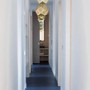 パリの大きいコンテンポラリースタイルのおしゃれな廊下 (コンクリートの床、青い床) の写真