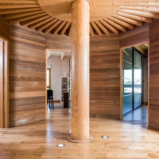 Cette photo montre un couloir tendance avec un mur marron, un sol en bois brun et un sol marron.