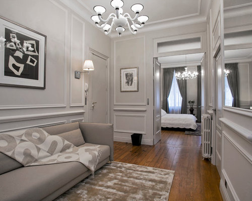 couloir avec un mur gris photos et id es d co de couloirs. Black Bedroom Furniture Sets. Home Design Ideas