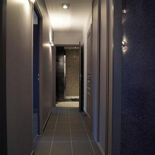 リールの中サイズのコンテンポラリースタイルのおしゃれな廊下 (セラミックタイルの床、紫の壁、グレーの床) の写真
