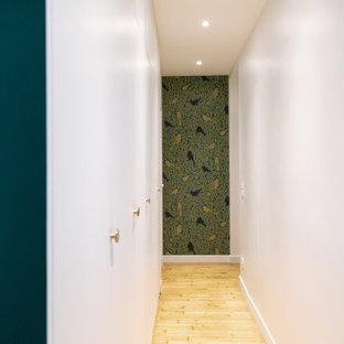 他の地域の中サイズのモダンスタイルのおしゃれな廊下 (白い壁、淡色無垢フローリング、ベージュの床) の写真