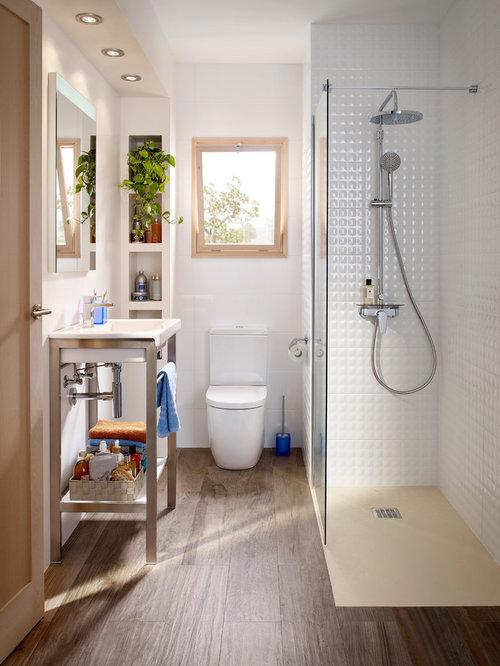 Fotos de baños | Diseños de baños pequeños con suelo de madera oscura