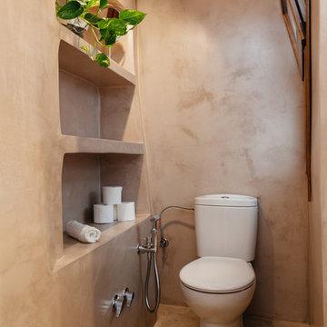 Baño rústico revestido en microcemento