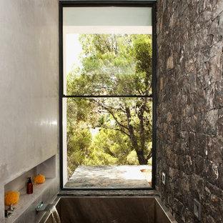 Imagen de cuarto de baño principal, actual, con bañera encastrada, ducha empotrada y paredes grises