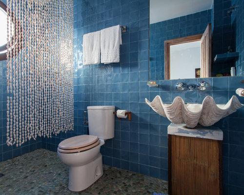Fotos de ba os dise os de ba os con baldosas y o azulejos azules - Azulejos azules para bano ...