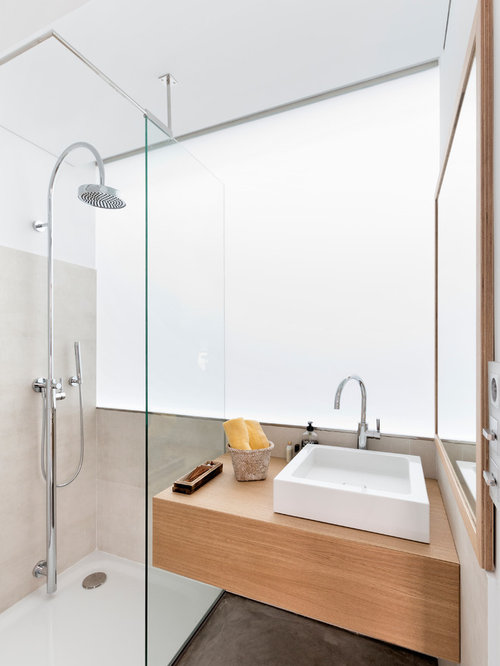 Photo Of A Medium Sized Contemporary Shower Room In London With Light Wood  Cabinets, A