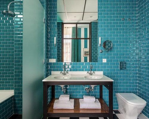 Fotos de ba os dise os de ba os con baldosas y o - Banos con azulejos azules ...