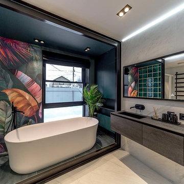 KRION Bath en los baños diseñados por Alexey Aladashvili en Rostov (Rusia)