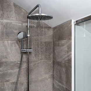 Design ideas for a small mediterranean bathroom in Malaga with flat-panel cabinets, white cabinets, an alcove bath, a walk-in shower, a wall mounted toilet, white tiles, ceramic tiles, white walls, porcelain flooring, a submerged sink, laminate worktops, brown floors, an open shower and white worktops.