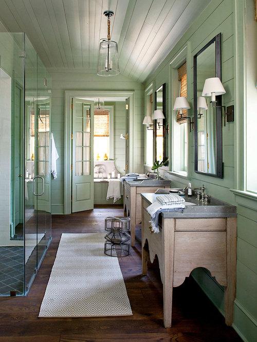 Landhausstil badezimmer mit bodengleicher dusche design ideen beispiele f r die badgestaltung - Zementfliesen dusche ...