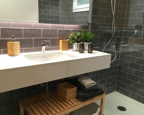 kleine badezimmer mit terrazzo boden ideen design. Black Bedroom Furniture Sets. Home Design Ideas