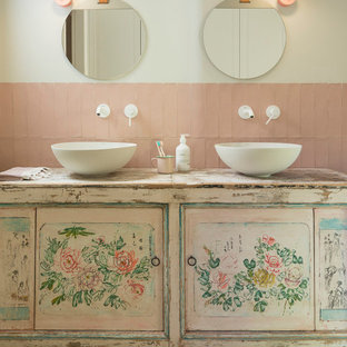 75 Beautiful Shabby Chic Style Pink Tile Bathroom Pictures Ideas