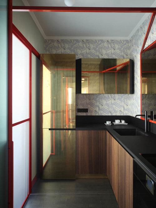Cucina a L con parquet scuro - Foto e Idee per Ristrutturare e Arredare