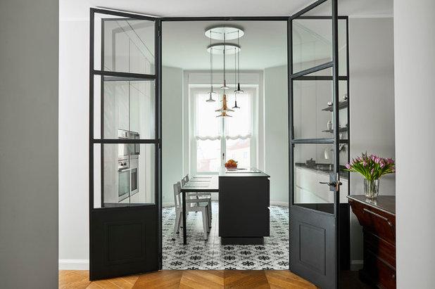 Cucina con vetrata a vista for Vetrate divisorie cucina soggiorno