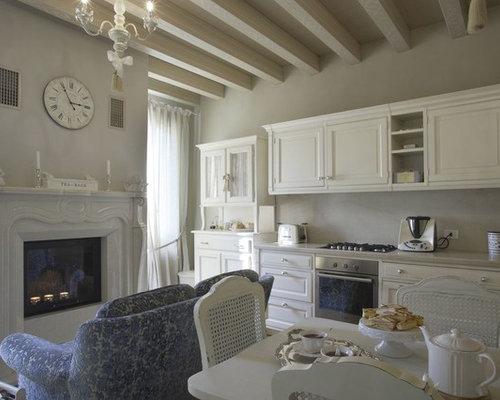 soggiorno shabby-chic style - foto e idee per arredare - Cucina Soggiorno Unico Ambiente Classico 2