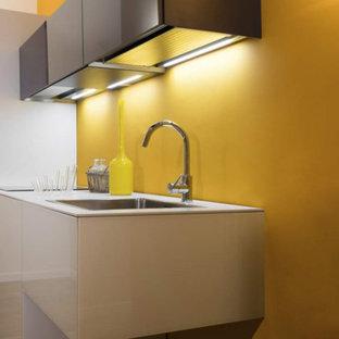フィレンツェの小さいコンテンポラリースタイルのおしゃれなキッチン (ドロップインシンク、ガラス扉のキャビネット、白いキャビネット、ラミネートカウンター、シルバーの調理設備の、アイランドなし、茶色い床) の写真