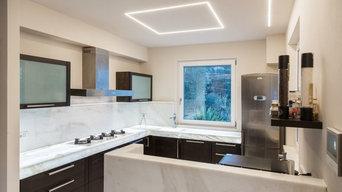 Bianco Neve  marble kitchen