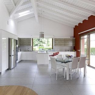 Idee per una grande cucina minimal con ante lisce, ante bianche, elettrodomestici in acciaio inossidabile, paraspruzzi grigio e isola