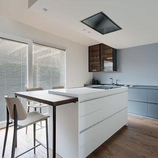 Foto di una cucina nordica con ante lisce, ante grigie, paraspruzzi grigio, pavimento in legno massello medio, isola e top grigio