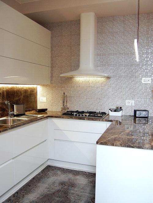 Foto e idee per cucine cucina con paraspruzzi con - Paraspruzzi per cucina ...